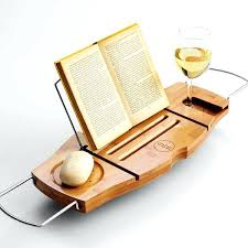 clean healthy living bamboo bathtub caddy tray with reading tray
