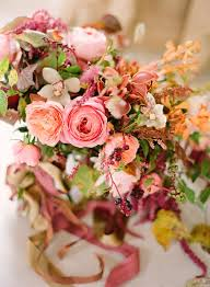 fall wedding bouquets garden roses pink coral orange orchids mauve