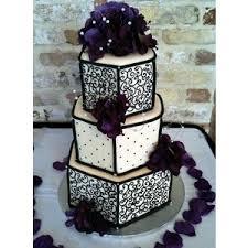 Three Tier Hexagonal Wedding Cake In Ivory And Black With Dark Purple FlowersJPG