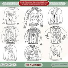 16 Ugly Christmas Sweater Coloring Pages Indie Crafts
