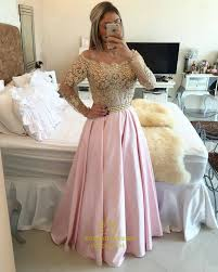 gold lace off the shoulder long sleeve pink satin a line prom