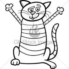 Happy Cat Cartoon For Coloring Book