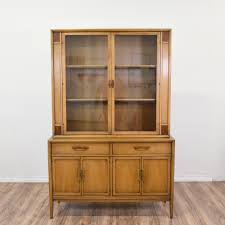 this drexel heritage china hutch is featured in a solid wood