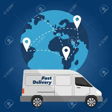 100 Commercial Truck Routes White Delivery On Background Of Globe With Fast