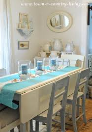 Farmhouse Dining Table With Summer Coastal Centerpiece