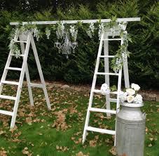 Diy Ladder And Chandlier Wedding Arch