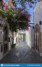 100 Beautiful White Houses Lindos Village Streets Without Tourists