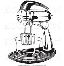 Vector Clip Art of a Black and White Electric Mixer in a Kitchen