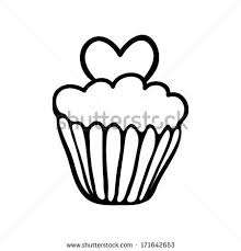 Valentine cupcake decorated with one heart Hand drawn sketch Black outline on white background