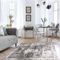 teppich wohnzimmer grau kurzflor karo muster modern patchwork größe 120 x 170 cm