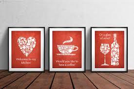 Set Of 3 Prints White Red Kitchen Decor