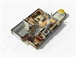 3d rendering einem möblierten wohnhauses mit dem ersten grundriss welche die wohnraum esszimmer empfangshalle terrasse und garage