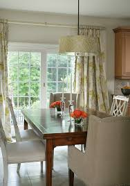 Sliding Glass Door Drapes Cream Iron Hardware Bright Flowery Curtain Wooden Dining Table White