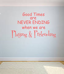 Playing And Pretending Vinyl Wall Decal Playroom Lettering Words Art Girl Bedroom Decor
