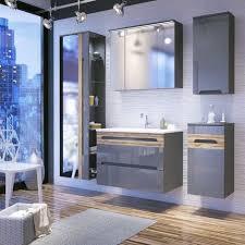 badmöbel set 5 tlg badezimmerset laxy 2 grau hgl inkl waschtisch 80cm