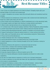 Great Resume Title Examples And Titles
