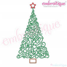 Twirly Curly Swirly Flourish Holiday Christmas Tree With Star Embroitique Instant Download Machine Embroidery Design