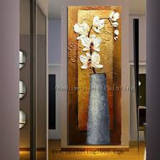 Vertical Wall Art Painting Abstract Canvas Butterfly Orchid Flowers Picture