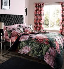 Vs Pink Bedding by Catherine Lansfield Dramatic Floral Duvet Set Multi King Amazon