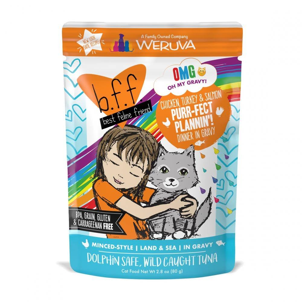 BFF Oh My Gravy Purr Fect Plannin Grain Free Chicken, Tuna, & Salmon in Gravy Wet Cat Food Pouch, 2.8 oz, Case of 12