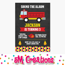 100 Fire Truck Birthday Party Invitations Engine Printable Etsy