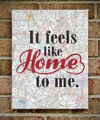 It Feels Like Home To Me Canvas Art On Sheet Music OR Vintage Map