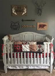 Woodland Creatures Nursery Bedding by Woodland Boy Crib Bedding Gray Buck Deer Skin Minky White Gray