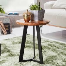 finebuy beistelltisch sv51462 sheesham holz metall couchtisch industrial style echtholz hocker wohnzimmer holztisch sofatisch metallbeine