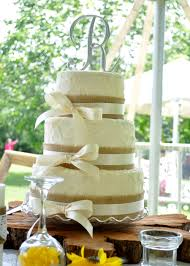 Rustic Style Wedding Cake With Burlap And Ivory Ribbon This Was For A Very Special Couple One Of The Most Beautiful Receptions Iv