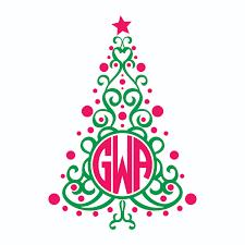 Christmas Tree Monogram Cuttable Frames
