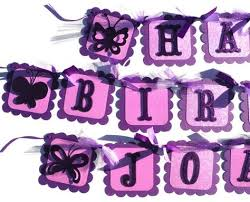 Purple Glitter Butterfly Happy Birthday Party by ScrapsToRemember Adult Birthday Party Decorations Pinterest