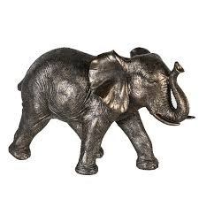 figur elefant stehend grau gold wohnzimmer dekoration afrikanisch 18x29 cm fiedlers deko und garten