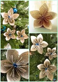 DIY Glitter Paper Flower Ornament Instruction Christmas Tree Craft Ideas