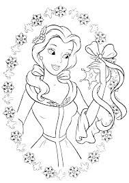 Disney Princess Christmas Coloring Pages Printable Flowers