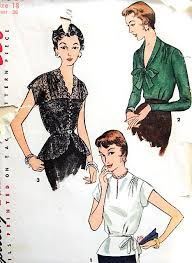 1950s BEAUTIFUL Blouse And Peplum Overblouse Pattern SIMPLICITY 4531 Daytime Or Evening Cocktail Party Blouses 3 Lovely Styles Bust 36 Vintage