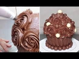 Giant Chocolate Cupcake Swirl Chocolate Buttercream Roses by Cakes StepbyStep