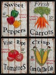 Set Of 4 Distressed Look Vegetable Sign Prints Acrylic Paintings Fresh Farm To Table Country Kitchen Wall Decor By CherylMcNultyArt
