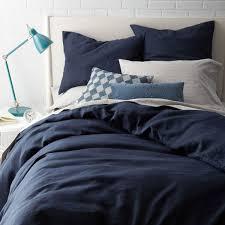 Belgian Flax Linen Duvet Cover Pillowcases Midnight West Elm UK