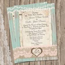 Mint And Peach Burlap Lace Wedding Invitation Rustic Wood Fence Printable