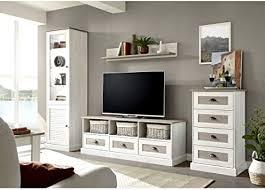 lomadox wohnzimmer wohnwand im landhausstil in pinie weiß