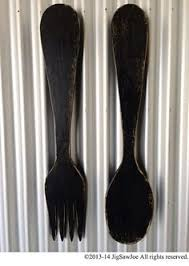 Wood Fork And Spoon Wall Hanging large wood fork knife and spoon kitchen decor handmade