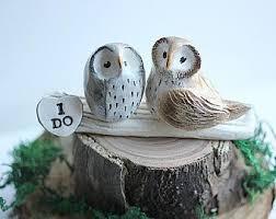 I DO Owls Owl Cake Topper Wedding Clay Rustic