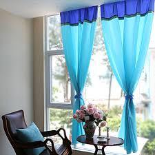 SV Small Fresh Mediterranean Sea Blue Cloth Curtain For Living Room Bedroom Bay Window Sheer Curtains