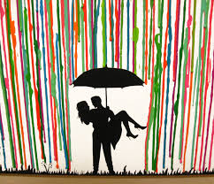 Silhouette Art Couple Custom Wax Painting Handmade Melted Crayon