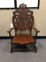 Lot # 16 - Beautiful Low Sitting Antique Ornate Wood Chair - (40