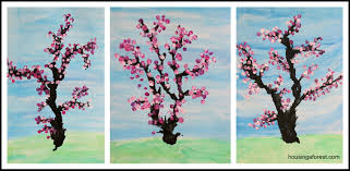 Spring Cherry Blossom Tree Beautiful Kids Art