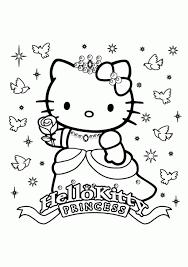Princess Hello Kitty Free Girls Coloring Page Printable