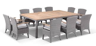 Sahara 10 Seat Outdoor Teak Top Dining Table And Kai Wicker Chairs Setting