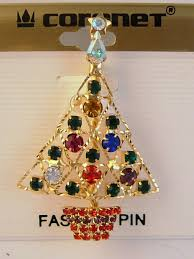 Gold Christmas Tree Pin Star Red Green Blue Purple Yellow