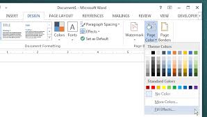 Ms Word Page Color